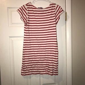 Red/White Stripe Short Sleeve T-shirt Dress Size S